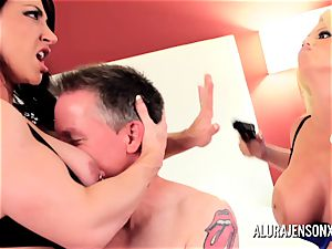 Alura Jenson mummy threeway fuck with Brandi May
