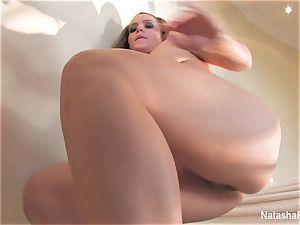 splendid pornographic star Natasha milks on the stairway