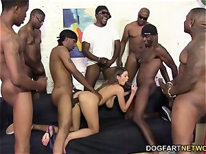 Brooklyn chase's first bi-racial gang-bang