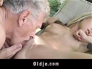 wild platinum-blonde seduces aged fellow to pummel
