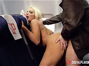 porn in the airplane. big-titted stewardess and trampy passenger