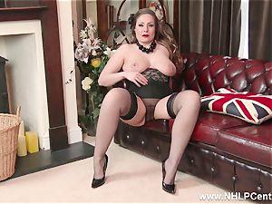 innate big melons brown-haired Sophia Delane strokes in nylons