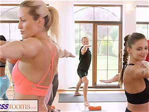 FitnessRooms gang yoga session finishes with a internal ejaculation