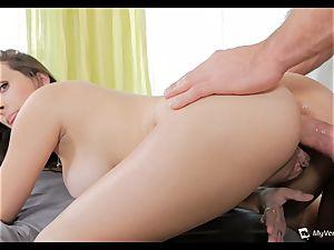 Ashley Adams chokes as her ass is boned