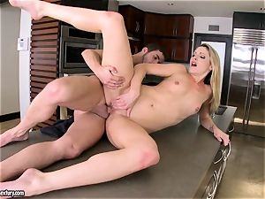 Samantha Ryan perceives the fever of her lover's spunk dripping on her slits