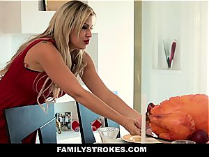 Step sister using brother's sausage on Thanksgiving
