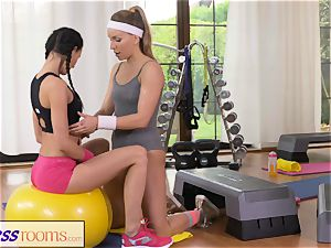 FitnessRooms 2 lezzie Gym partners exercise