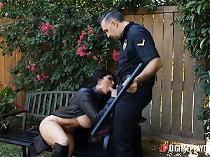 buxom flasher Romi Rain rides draped police officer