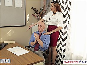 Stockinged babe Serena Ali pulverize in the office