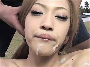 sweetie gets sopping in jizz after fellating salami outdoors