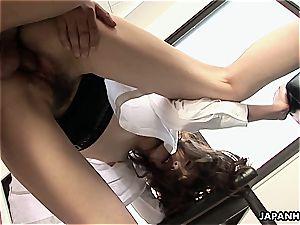 japanese honey straddles his jizz-shotgun and gives him a rail