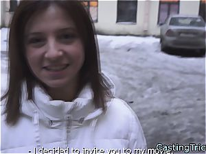 slender brunette Russian wants to pay the bills getting pummeled