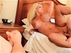 manmeat deep-throating mischievous three-way Alura Jenson and stud gives a helping forearm