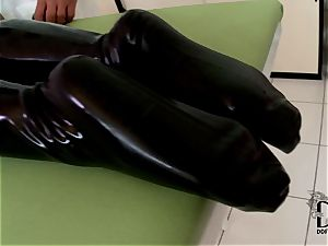 rough platinum-blonde in spandex dildoed by the physician