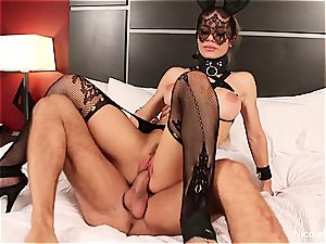 huge-boobed blond Nicole is dominated