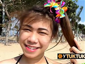 sizzling asian dolls are seduced at beach into drilling super-naughty tourist