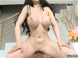 dark-haired gets her Face unloaded with cum