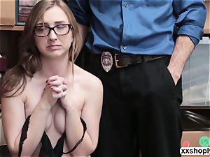 kinky Shoplifter Gracie MayGreen gets her vulva demolished