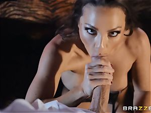 Abigail Mac packs her face with pearly spunk