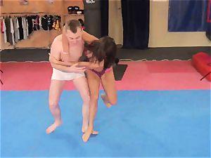 Fetish-Erotic wrestling dolls struggle dudes down