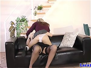 Mature in underwear gets smacked by petite nubile