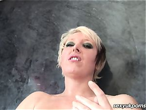 british towheaded cougar Tracey Venus showers and drains