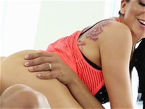 Yoga sweethearts Romi Rain and Summer Brielle nailed by the trainer