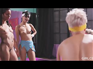 GIRLCORE Aerobics Class Leads to lesbian splashing fuck-fest