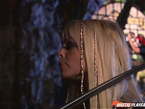 Circle of pirates watch naughty lesbos Jenaveve Jolie and Carmen Luvana eat out minge