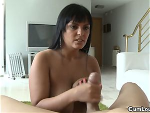 big-boobed Jasmine ebony tugging a phat beef whistle
