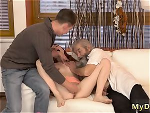 old guy cums inwards nymph sudden practice with an aged gentleman