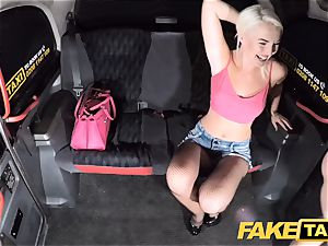 fake taxi sumptuous ash-blonde in cock-squeezing denim cut-offs