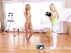 adorable platinum-blonde nubile swaps spunk with casting agent