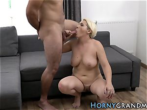 huge-chested grandma throat nutted