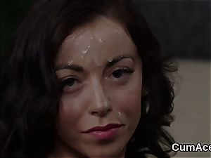 Foxy honey gets man juice shot on her face licking all the enjoy fluid