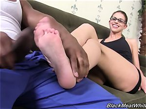 multiracial footjob for thick black schlong