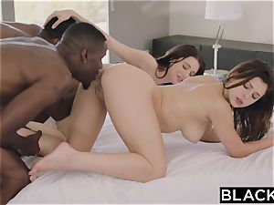 BLACKED.com four way poke with 2 steamy Brunettes