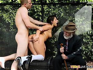 hilarious situation of beaver inserted daughter-in-law and her grandpa watches at bus stop - Abella Danger and Bill Bailey