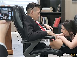 horny dark-haired Angela milky smashed over the table
