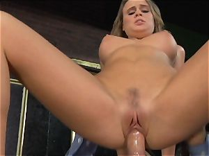 Alexis Adams drills the boss in the bar