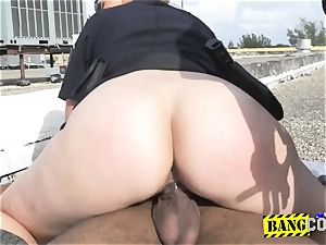 peeping tom is forced into inserting milf cops labia in doggie