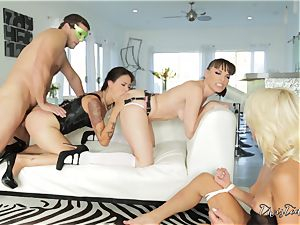 hard-core slit thrashing activity with three ultra-kinky babes
