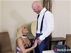 Married fellow porks his super-cute buxom maid on sly from his wife