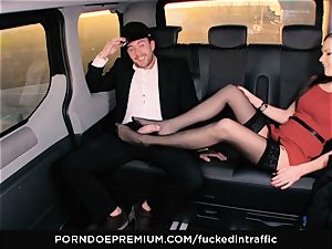 plowed IN TRAFFIC Tina Kay footjob in the backseat