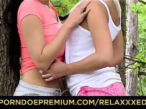 RELAXXXED sugary lesbo honeys finger-tickling in the forest