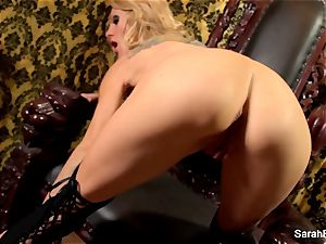 big-titted blond Sarah Jessie plays with her pussy