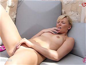 MyDirtyHobby - red-hot blondie masturbating outdoor!