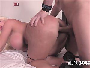 gigantic hooter ash-blonde Alura Jenson boning a jumpy customer