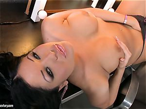 adorable breezy Angelica Heart heads solo nude in her dressing room for an action