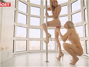 lesbian duo loves Afternoon super-fucking-hot fuckfest on the Balcony